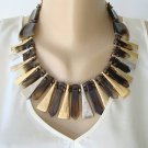 Chico's Fringe Egyptian Style Statement Necklace Silver Goldtone Tortoise Shell Designer Jewerlry