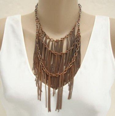 Copper Chain Bib Necklace Triple Strand Unusual Vintage Jewelry