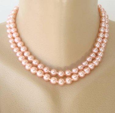 Japan Pink Glass Double Strand Necklace Rhinestone Clasp Vintage Jewelry
