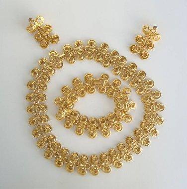 Owl Eyes Set Necklace Bracelet Earrings Goldtone Jewelry