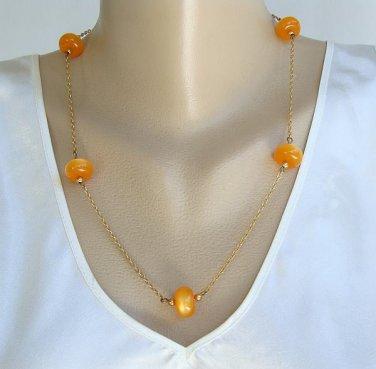 Orange Moonglow Lucite Necklace Vintage Jewelry