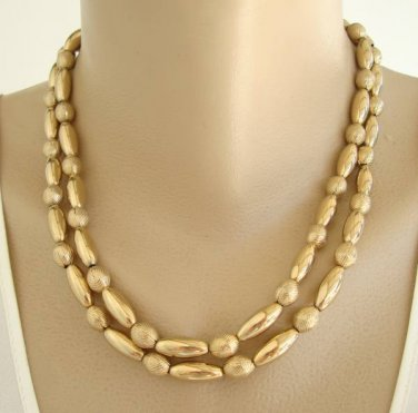 Double Strand Goldtone Bead Necklace Fancy Clasp Vintage Jewelry
