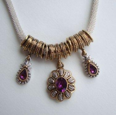 1928 Co. Amethyst Rhinestone Slider Necklace Victorian Style Jewelry