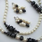 Chunky White Black Set Ultra Long Necklace Adj Clip Earrings Pearl Jewelry