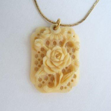 Carved Bone Rose Pendant Necklace Vintage Floral Jewelry
