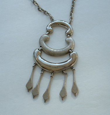 Egyptian Revival Pendant Necklace Silvertone Vintage Jewelry