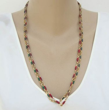Two Poured Glass Chain Necklaces Green Red Festive Jewelry
