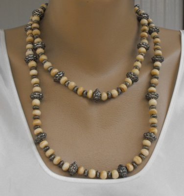 Extra Long Bone Ornate Silver Bead Necklace Vintage Flapper Jewelry