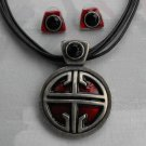 Chico's Mod Red Enamel Pendant Necklace Post Earrings SET