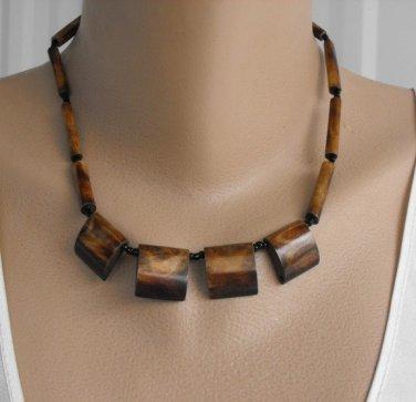 Brown Dyed Bone Square Fringe Necklace Earthtone Vintage Jewelry