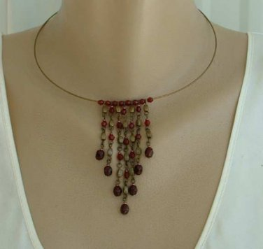 Ruby Red Faux Garnets Hoop Collar Fringe Necklace Vintage Jewelry