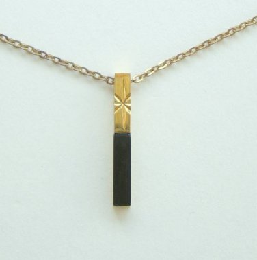Delicate Black Onyx Starburst Pendant Necklace Vintage Jewelry