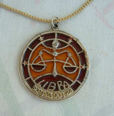 Libra Pendant Necklace Scales of Justice Signed 1970s Zodiac Jewelry