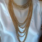 Heavy Multi-Strand Chain Necklace 13 Strands  Antiqued Goldtone Vintage Jewelry