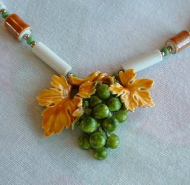Colorful Grapes Leaves Pendant Necklace Green Yellow Vintage Floral Jewelry
