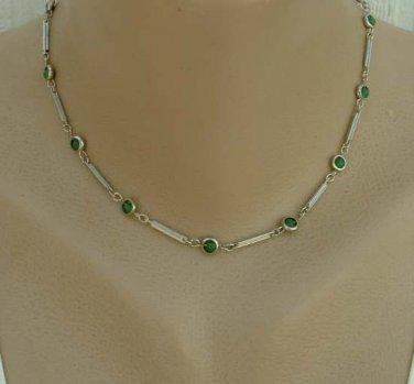 Atomic Geometric Choker Necklace Green Bead Station Links