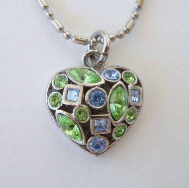 Blue Green Rhinestone Heart Pendant Necklace Sweetheart Jewelry