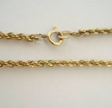 """Vermeil Diamond Cut Rope Chain Necklace 30"""" Sterling Silver Jewelry"""