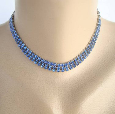 Blue Rhinestone Collar Choker Necklace Sparkling Jewelry