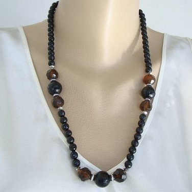 Faceted Topaz Black Graduated Bead Necklace Vintage Jewelry