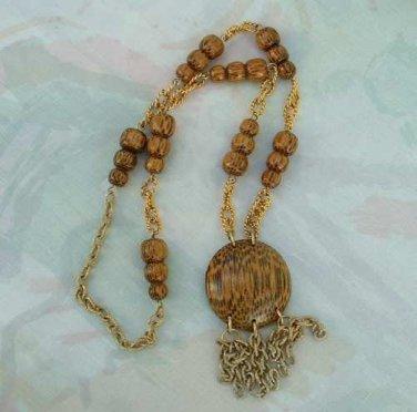 Faux Wood Pendant Tassel Bead Chain Necklace