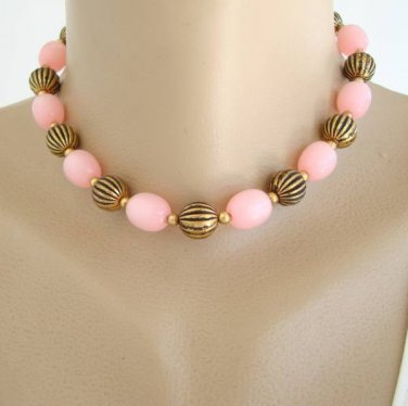 Pink Moonglow Lucite Bead Choker Necklace Vintage Jewelry