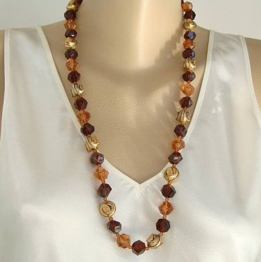 Lightweight Two-Tone Topaz Bead Necklace Retro Acrylic Beads Vintage Jewelry