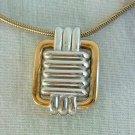 Trifari Slider Pendant Necklace Retro Two-tone Geometric Vintage Jewelry