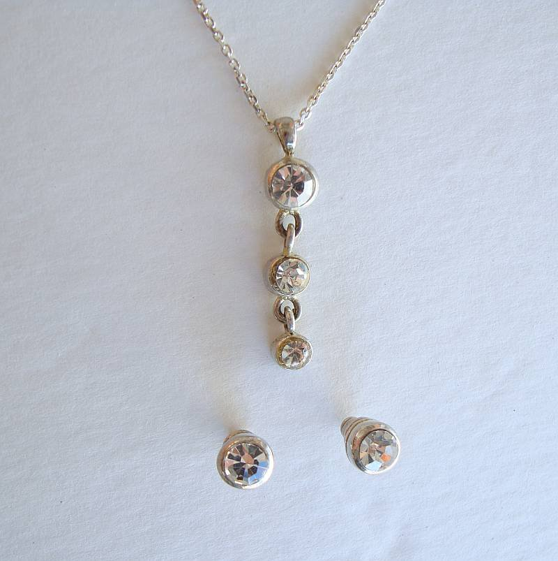 Crystal Drop Pendant Necklace Earrings SET Sterling Silver Chain