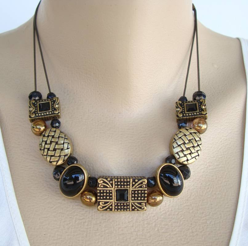 Chico's Signed Necklace Antiqued Metal Slider Charms Black Glass Jewelry