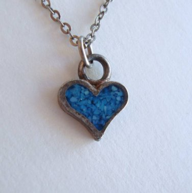 Tiny Turquoise Heart Pendant Necklace 18 inch Vintage Sweetheart Jewelry