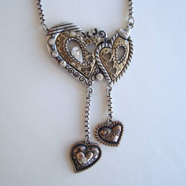 Entwined Hearts Pendant Necklace Brass Silver Unusual Sweetheart Jewelry
