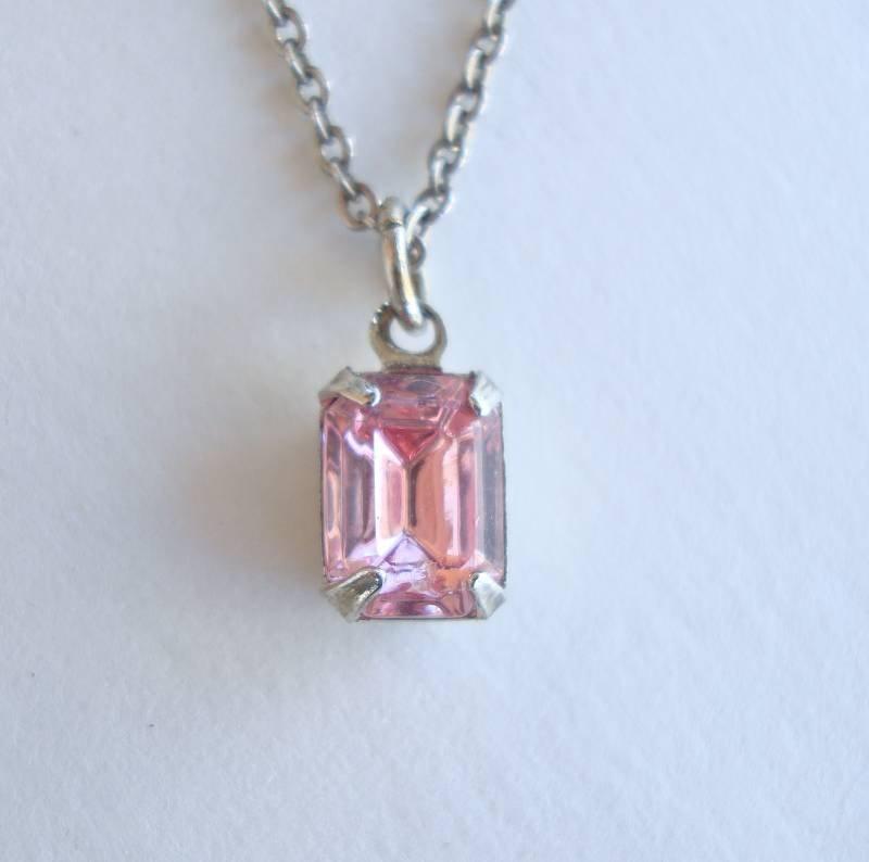Pink Cushion Cut Rhinestone Pendant Necklace 18-inches