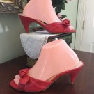 Nine West NWANESA Leather Upper Slip-on Red Heels