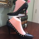 Kardashian Kollection Dress Pump Heel Shoe Tawnya Black Studded 7.5 S5