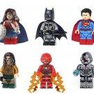 set Justice League Batman Aquaman Superman Flash Wonder Women Cyborg Minifigures Custom Toys