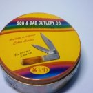 Son and dad handmade two bladed folding pocket knife in collectors tin.