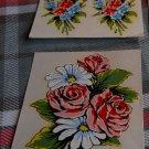 Vintage Decals  Impko SET OF Florals: Pink Roses & 2 Flower Sprays Water Decal