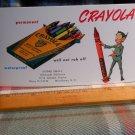 Vintage 1950's CRAYOLA Merchant Blotter: CRAYOLA 8 PACK box with Leprechaun