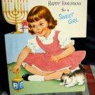 Vintage Hanukkah for a Sweet Girl flannel dress Card / Unused! w/ Envelope