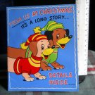 Vintage Christmas Card WITH HAPPY DACHHOUNDS **  Barker Pop Up 1950's