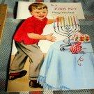 Vintage Hanukkah for a Fine Boy red flocked shirt- Card / Unused, !w/ Envelope