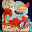 VINTAGE MERRY CHRISTMAS to a fine boy  Stand Up  card Hallmark 1953