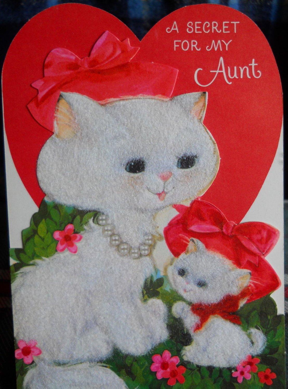 Valentine AUNT Vintage 70's*die cut*Cat & Kitten* gray flockin-UNUSED Hallmark