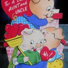 Valentine AUNT & UNCLE Vintage 50/60s  *fold up & die cut*3 LITTLE Pigs-UNUSED