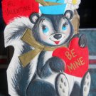 Valentine Vintage 70's*die cut*skunk*with blue decorated hat-UNUSED Hallmark