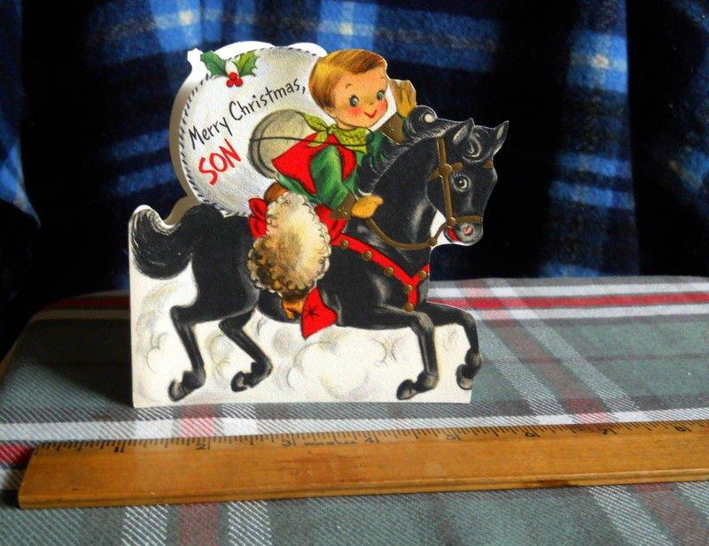 Merry Christmas SON * Hallmark card  *die cut* cowboy riding pony circa 1950