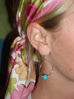 Turquoise and silver hoop