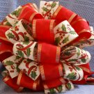 GREEN HOLLY AND RED RIBBONS - CHRISTMAS TREE TOPPER BOW