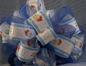 JOLLY SNOWMEN & SHEER BLUE RIBBONS - CHRISTMAS TREE TOPPER BOW